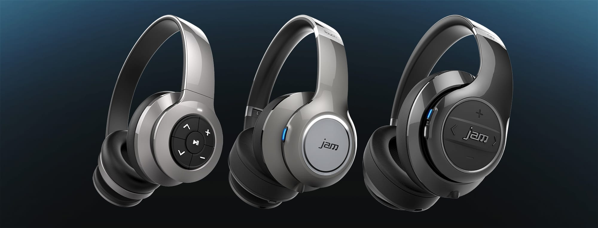 Product design of wireless bluetooth headphones with touch and gesture control interfaces