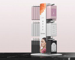 modular spinner display with cosmetics products